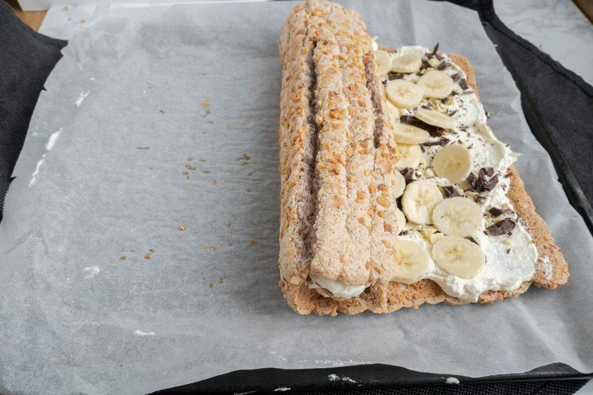 Budapestrulle med banan og chokolade