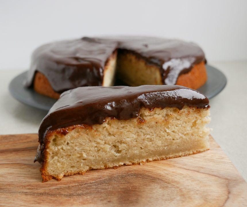 banankage med chokoladeganache