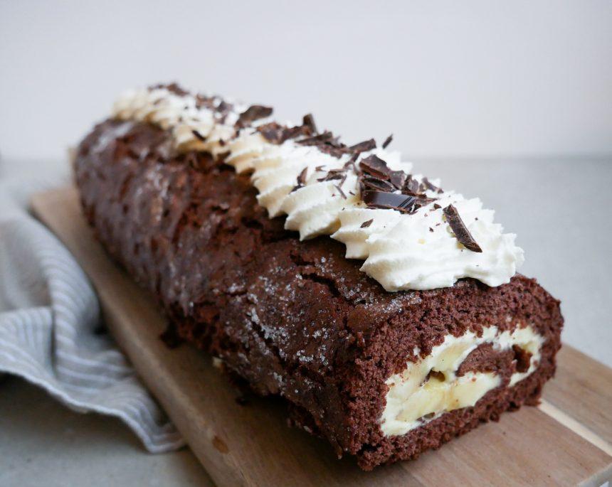 chokoladeroulade med banan