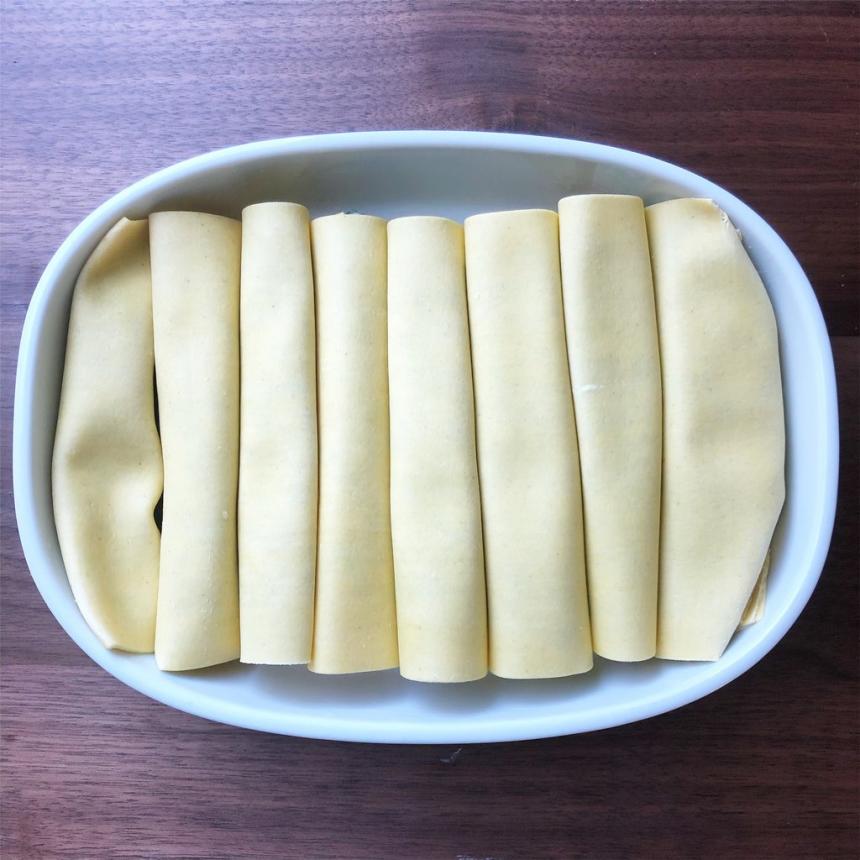 Cannelloni med laks og spinat