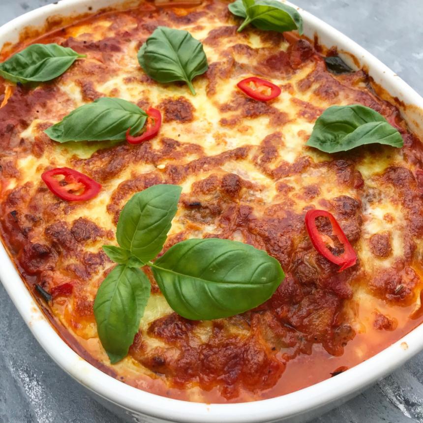 Sund lasagne med grøntsagsplader