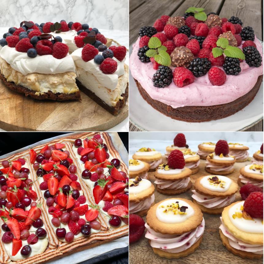 5 kager med frugt