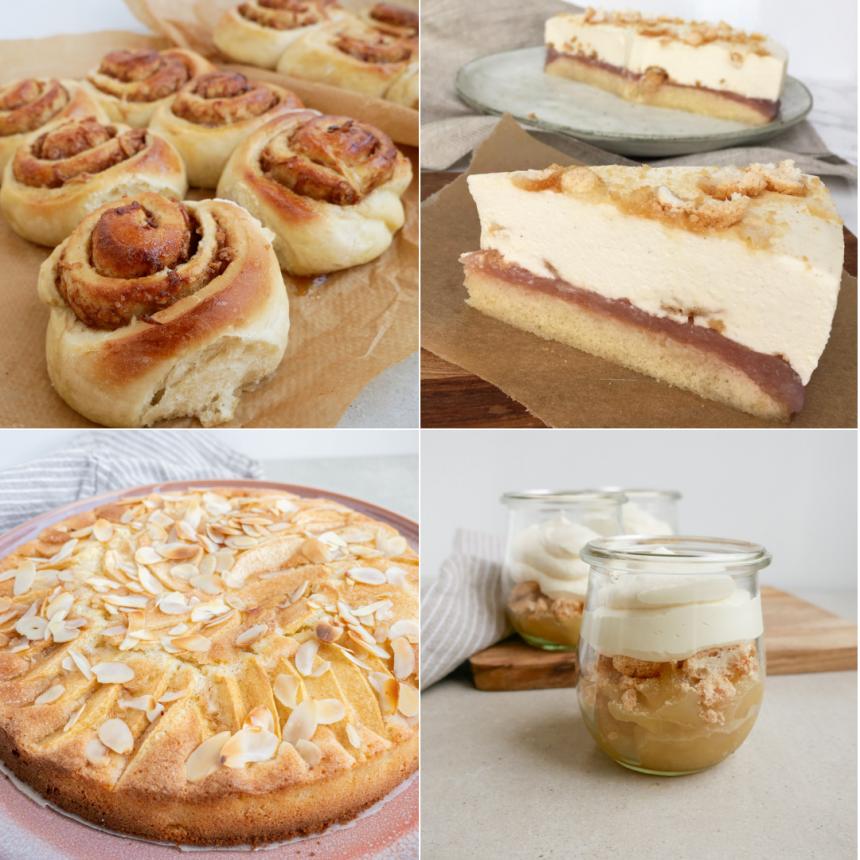 5 kager med æbler