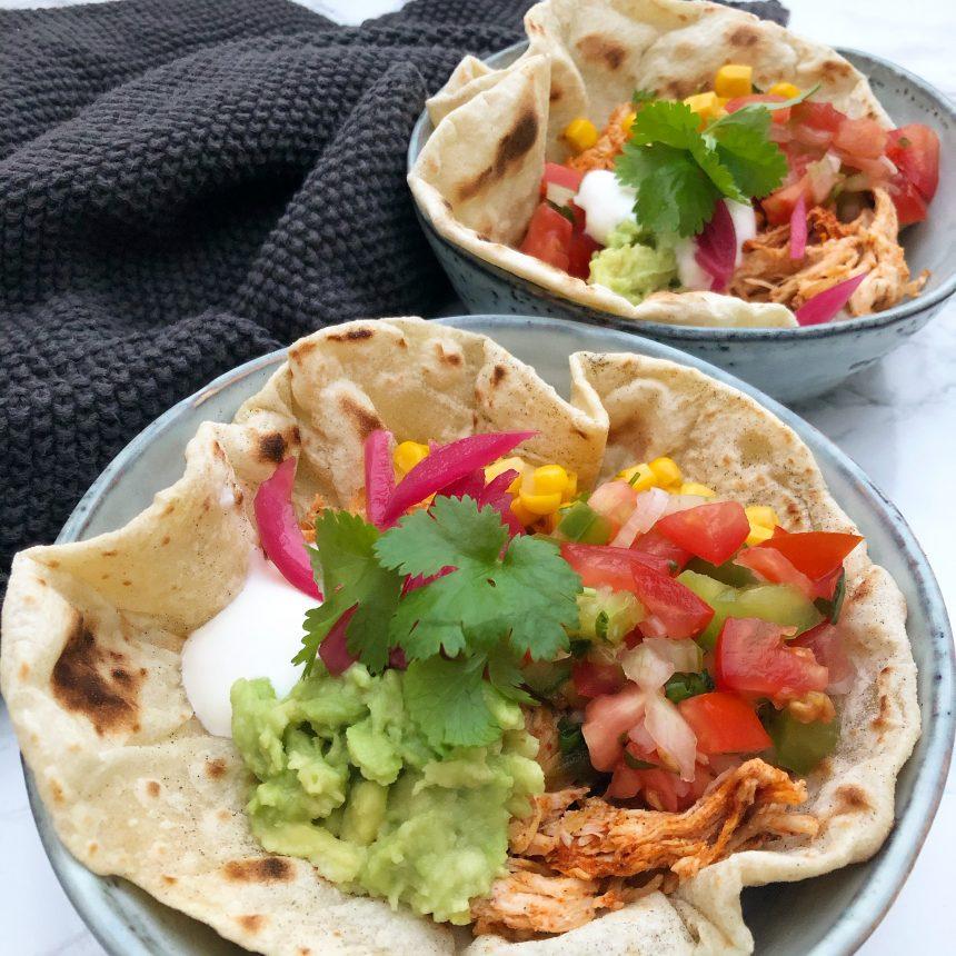 Tortillas med pulled chicken