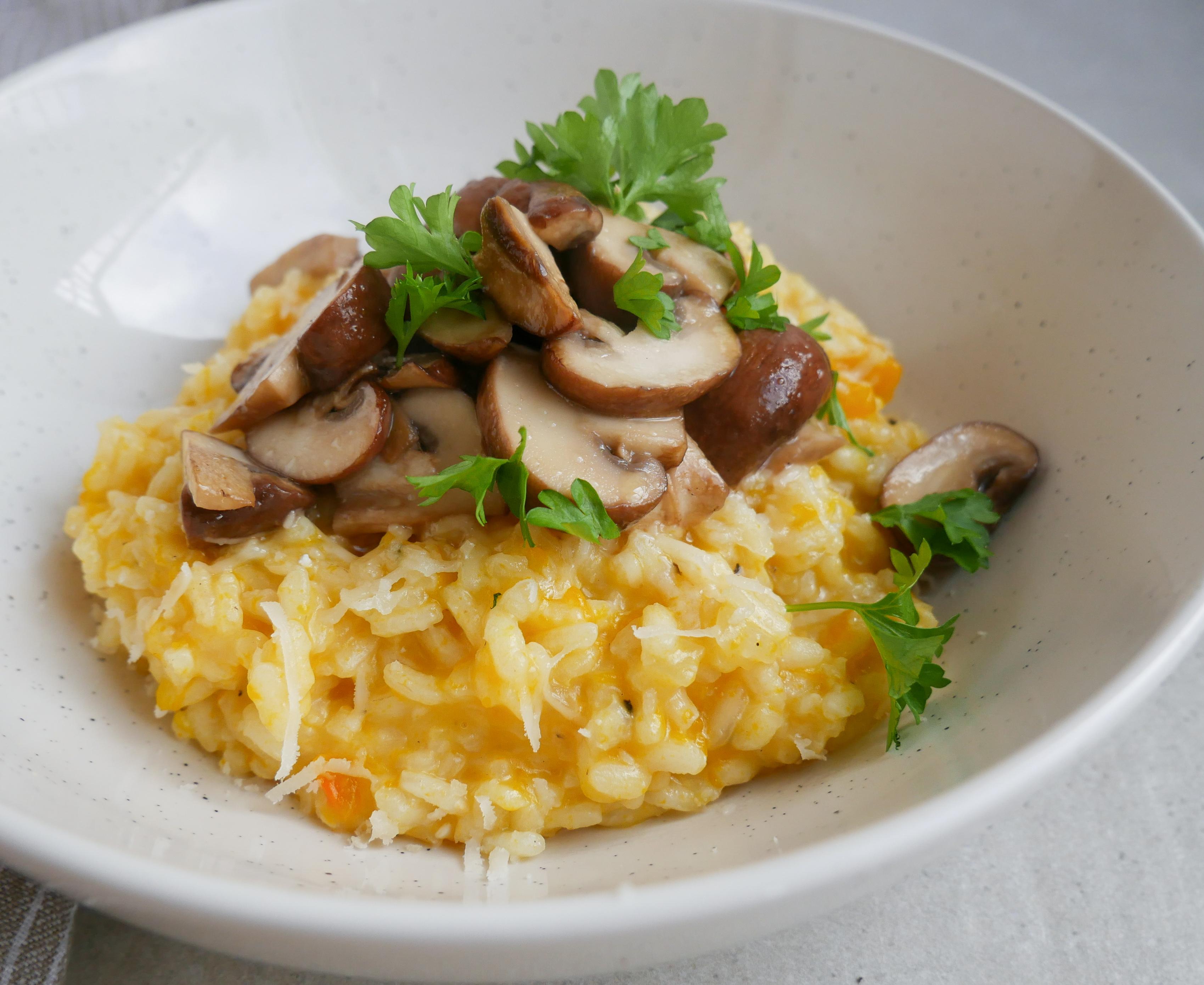 Risotto med græskar og svampe