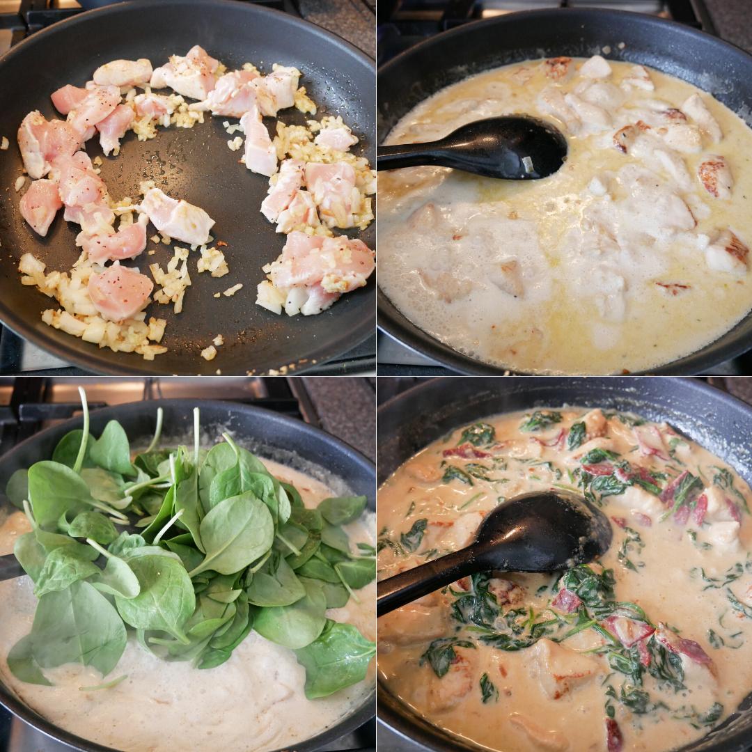 cremet pastaret med spinatpasta og kylling