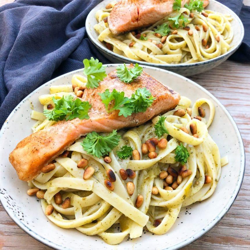 pasta med laks