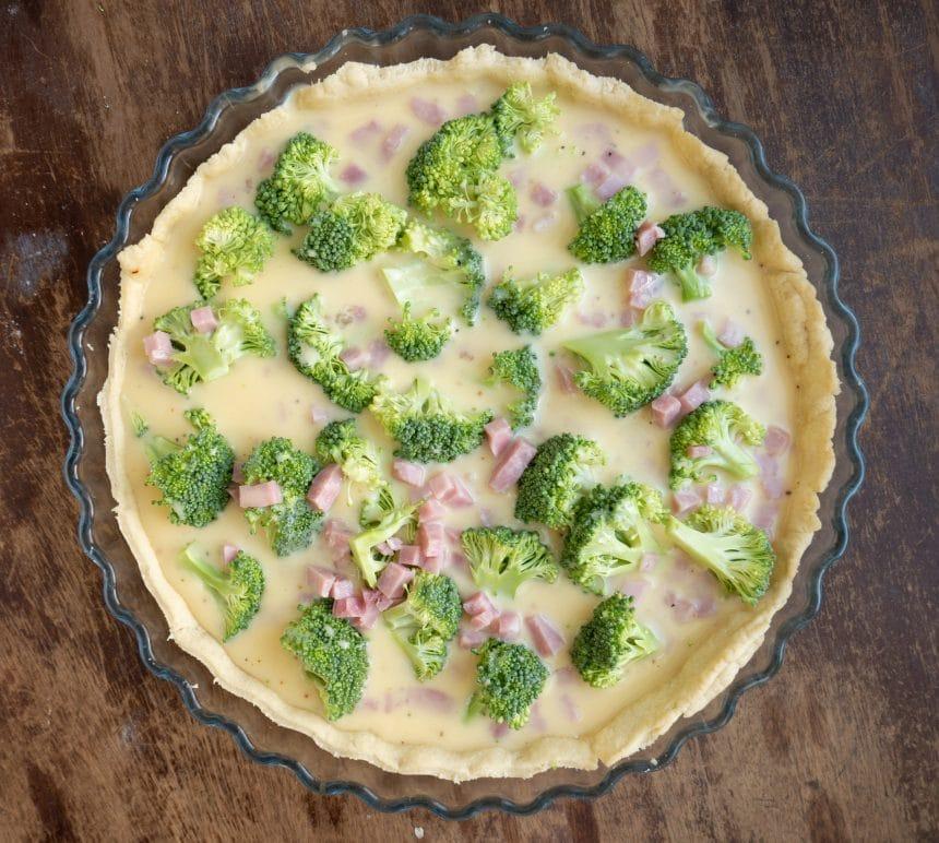 Nem opskrift på tærte med skinke og broccoli