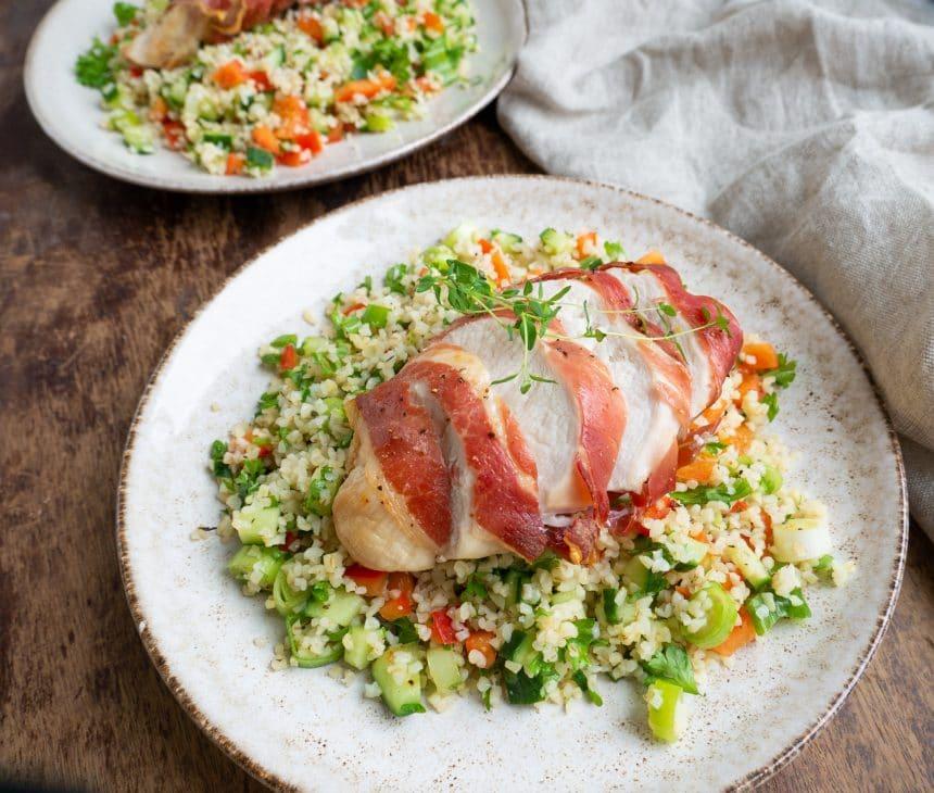 Opskrift på bulgursalat med kylling