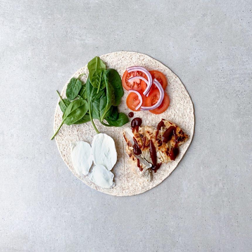Wrap med kylling og barbeque