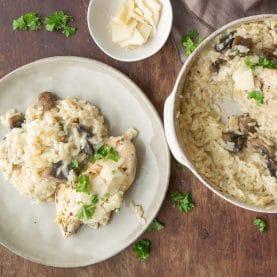 Bagt ris med kylling og champignon
