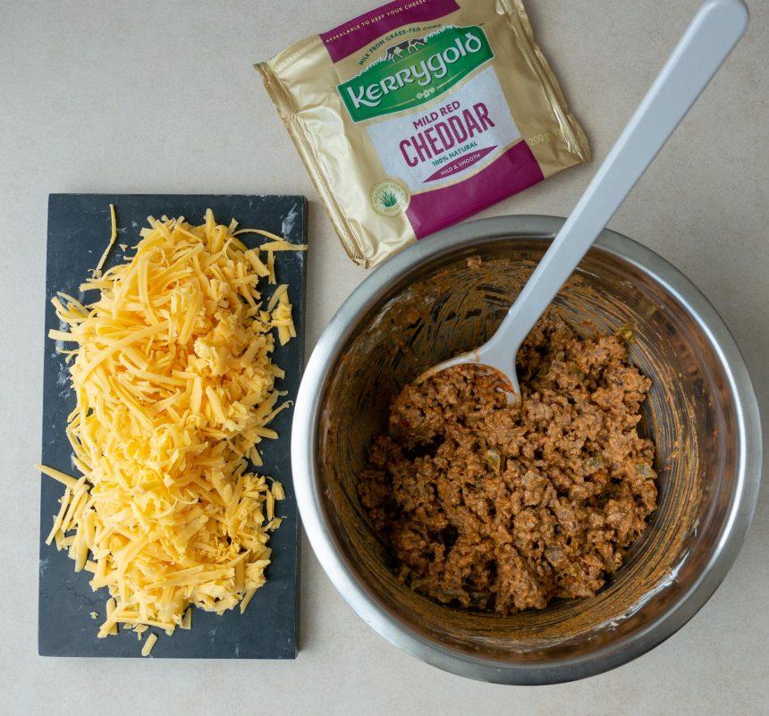 Bagte quesadillas med oksekød