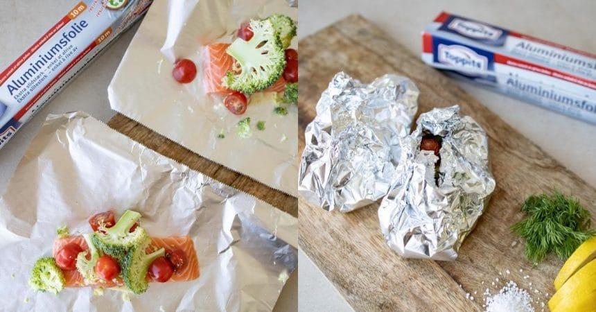 Laksepakker med grøntsager i staniol